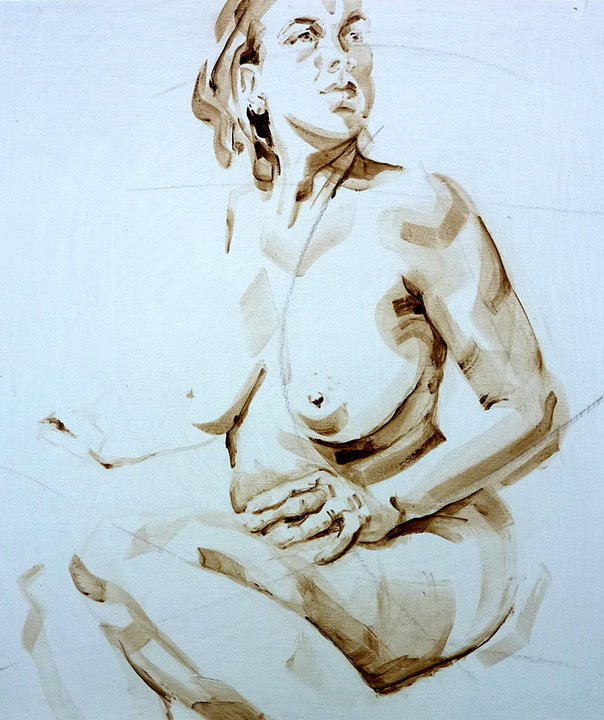 Nude Self 01| Acrylic on wooden panel | 70x50 cm