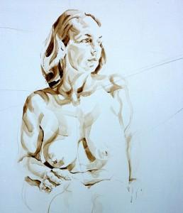 Nude Self 03| Acrylic on wooden panel | 70x50 cm