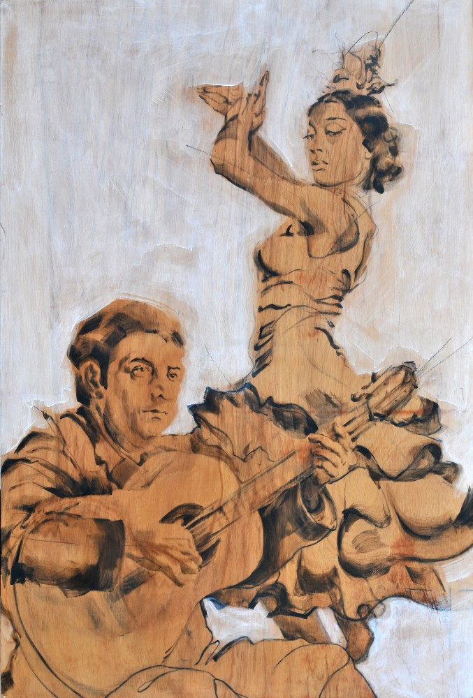 Flamenco Manolo Caracol & Maria Albaicin| Acrylic on wooden Spanish cupboard panel | 120x180 cm