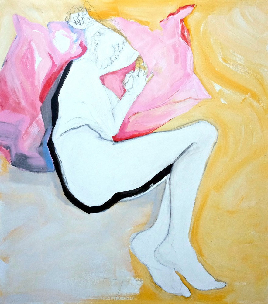 Lying in Pink and Yellow | Acrylic on wooden panel | 70x80 cm