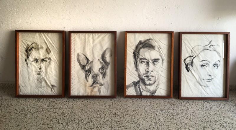 4 paintings on sail | frames handmade in Lanzarote, Carobe wood, plexiglass/perspex