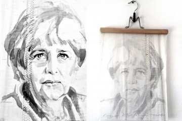 Angela Merkel | painting on sail | A4 size | 400€