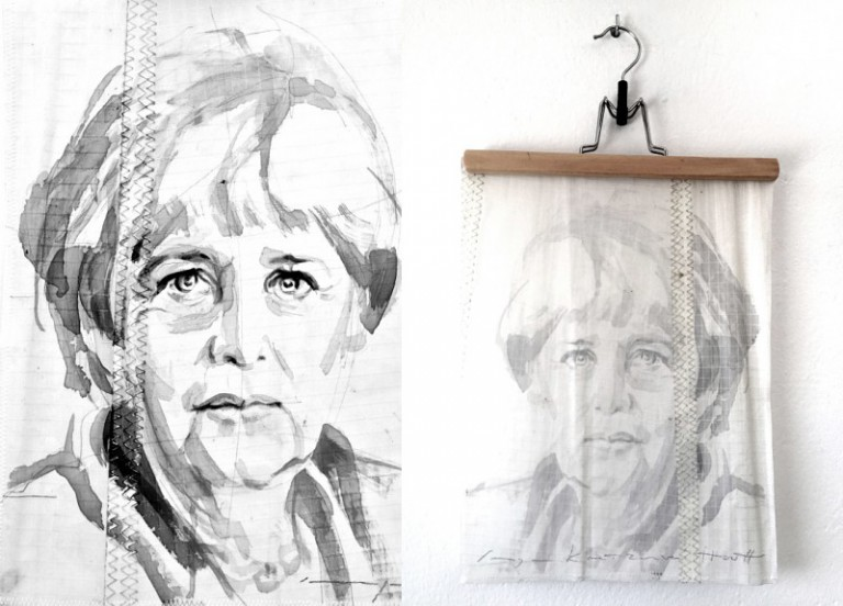 Angela Merkel | painting on sail | A4 size