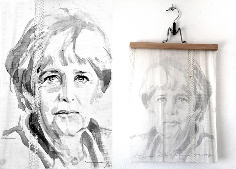 Angela Merkel | painting on sail | A4 size | 400€