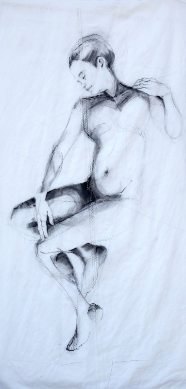 Woman Model Sail 01 | Acrylic/charcoal on sailcloth | 90x200 cm