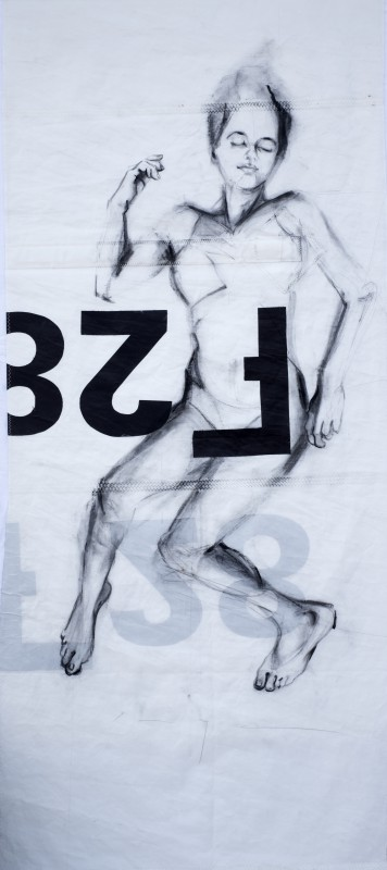 Woman Model Sail 02 | Acrylic/charcoal on sailcloth | 90x200 cm