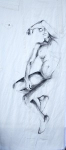 Woman Model Sail 04 | Acrylic/charcoal on sailcloth | 90x200 cm