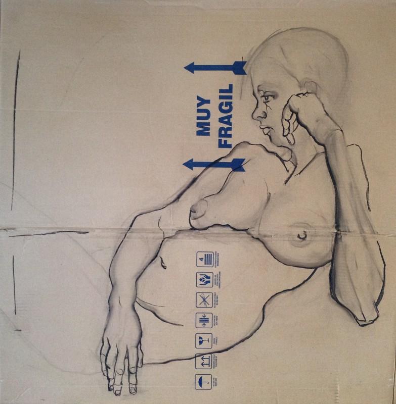 Muy Fragil, Drawing on cardboard