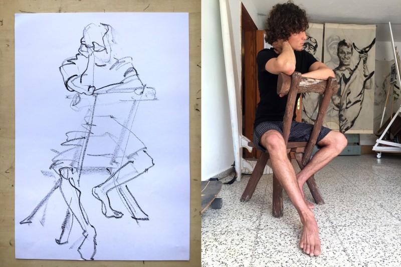 Model Luis   Model Drawing Famara Lanzarote