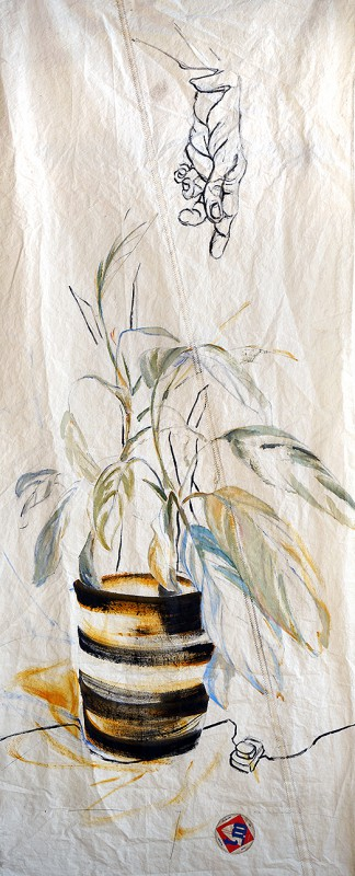 Pot Plant Hand|acrylic, pencil, on sailcloth| 90x +-200 cm