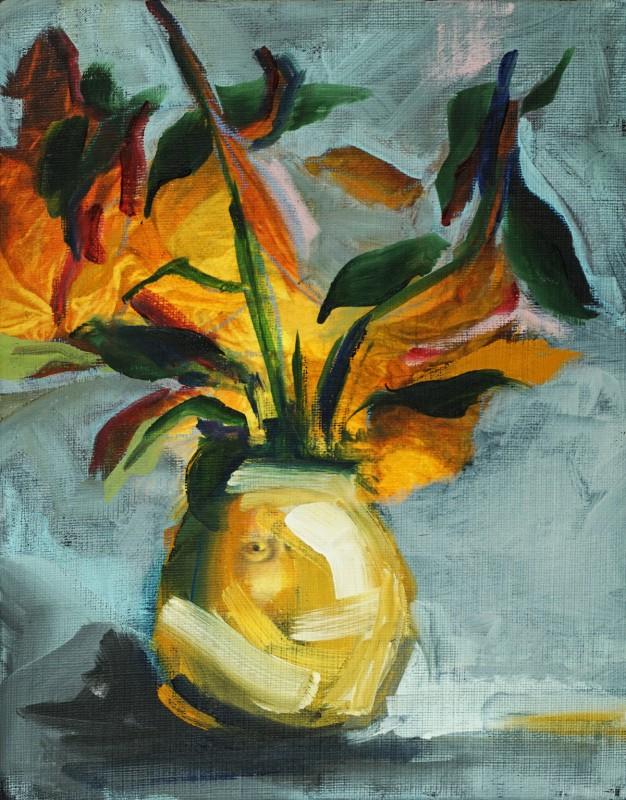 Flowers in Golden Eye Vase | oil / acrylic paint on reproduction canvas | +-26x20 cm