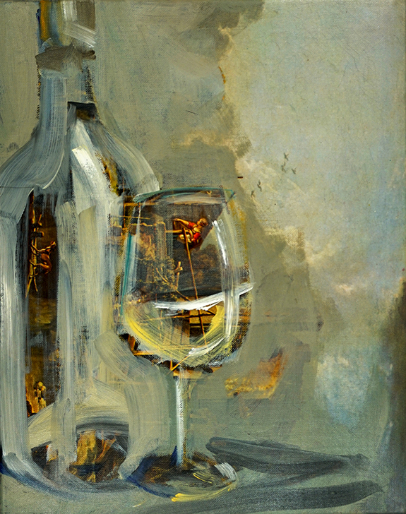 Bottle and Glass White Wine | oil / acrylic paint on reproduction canvas | +-26x20 cm