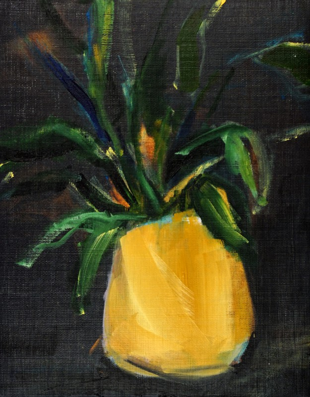 Plant Ocher Yellow Pot | oil / acrylic paint on canvas | +-26x20 cm | Con Amor Valencia Spain