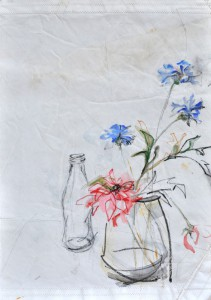 Flowers in Pot with Bottle on Sail