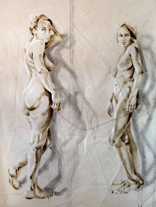 Dos Amigas | Acrylic on sailcloth | 180x225 cm | white wooden frame top&bottom