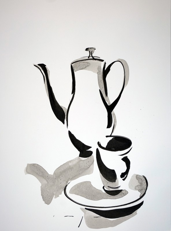 Dutch Art China | Tea pot, cup and saucer |Ink on paper | A3