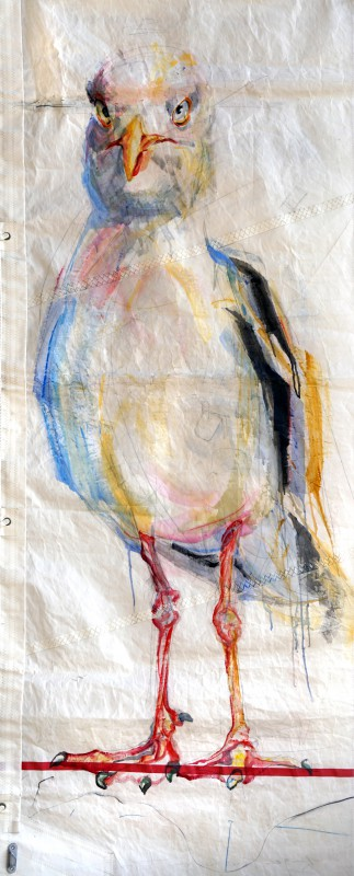 SOLD | Seagull on Sail | Acrylic on Sail cloth | +-90 x 220 cm
