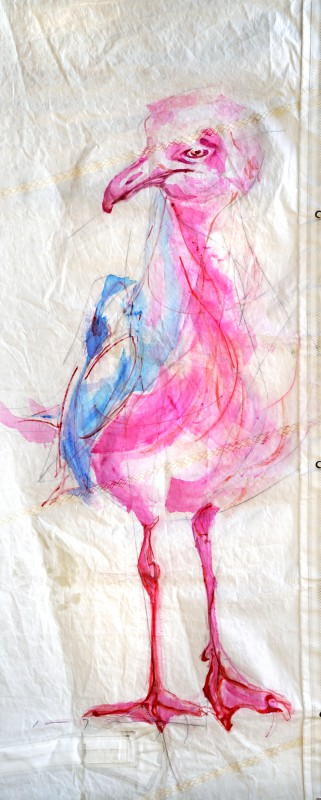 Pink Seagull | Acrylic on Sail cloth | +-90 x 220 cm