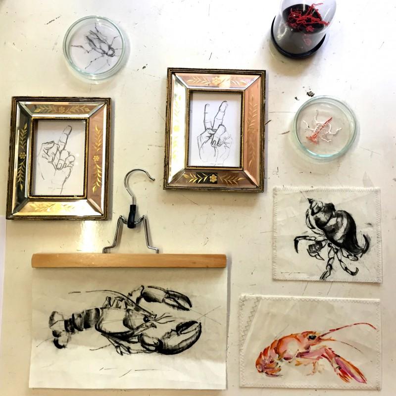 Random small work: drawings on paper, on sailcloth, 3D pen little sculpt.