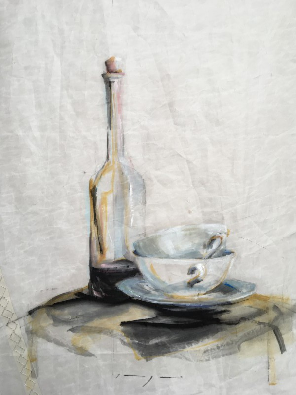Still life | Bottle and cups | oil paint on sail | 50x70 cm
