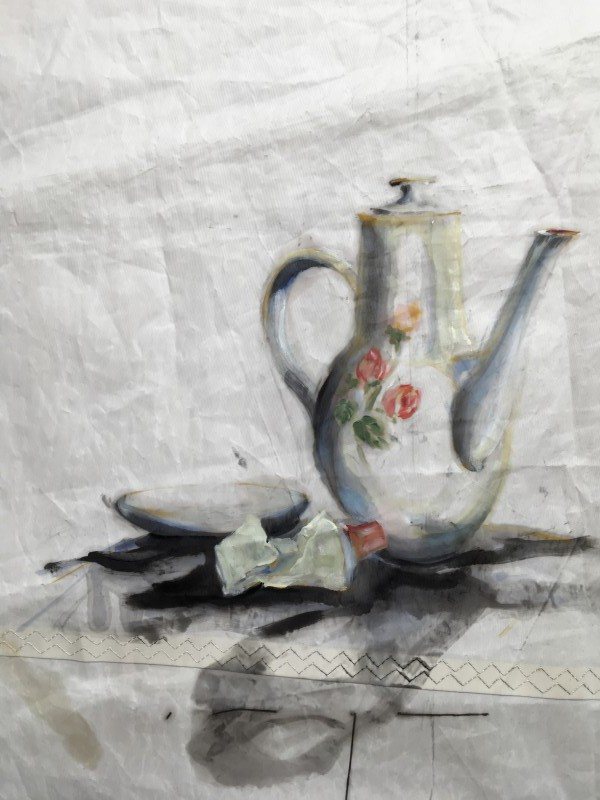 Kunstuitleen Kranenburgh Bergen | Still life | Teapot and tube | oil paint on sail | 50x70 cm