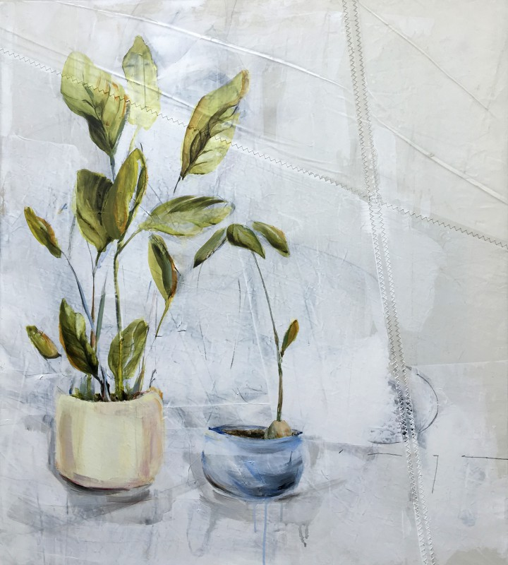 Kunstuitleen Alkmaar | Two plants in pots | acrylic on sailcloth | 70x90 cm