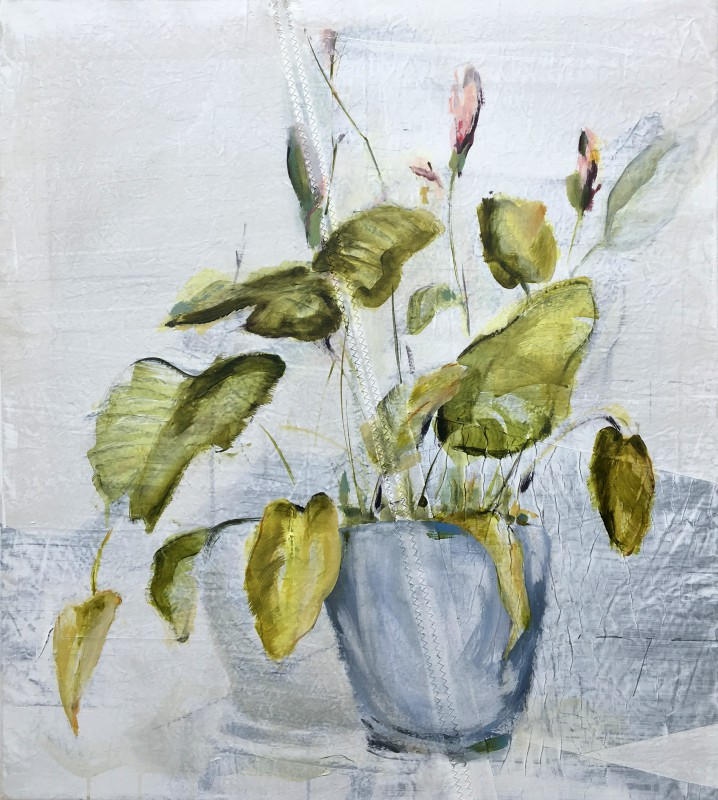 Kunstuitleen Kranenburgh Bergen | Plant in pot on sail | acrylic on sailcloth | 80x90 cm