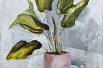 Plant in pink pot and two cups | acrylic on sailcloth | 70x90 cm