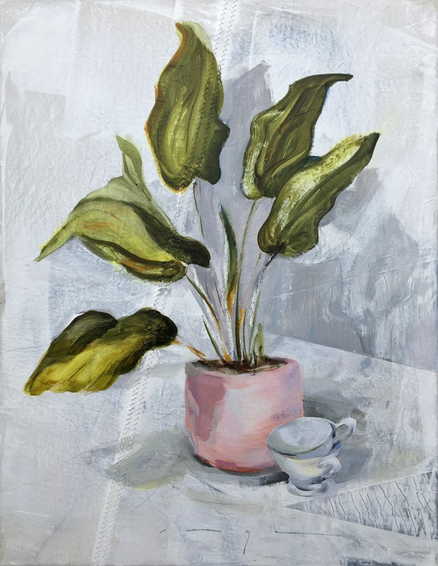 Kunstuitleen Kranenburgh Bergen | Plant in pink pot and two cups | acrylic on sailcloth | 70x90 cm