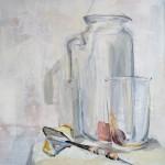 Still life with dart arrow | Acrylic on wooden panel | 60x70 cm