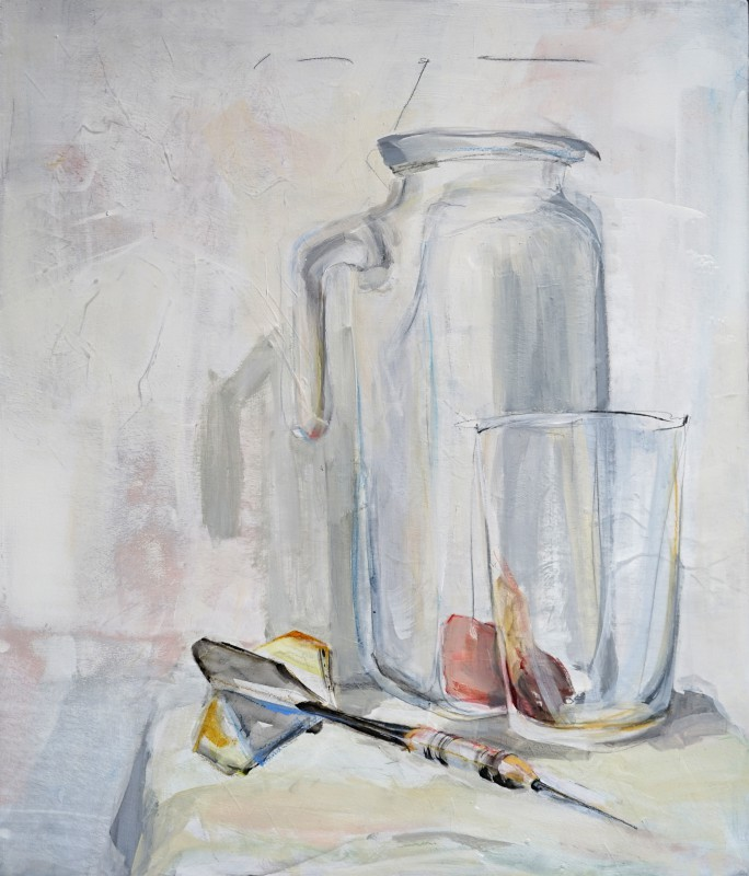 Still life with dart arrow | Acrylic on wooden panel | 60x70 cm | Kunstuitleen Alkmaar