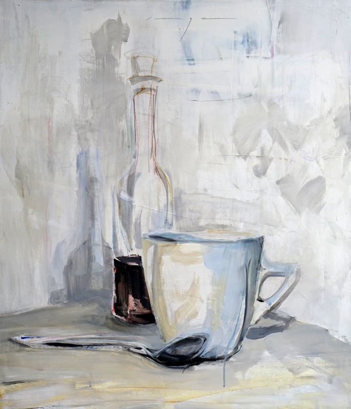 Still life with bottle, cup and tea spoon | Acrylic on wooden panel | 60x70 cm| Kunstuitleen Alkmaar