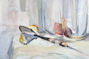 Still life with dart arrow | Kunstuitleen Alkmaar | Acrylic on wooden panel | detail