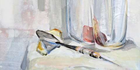 Still life with dart arrow | Acrylic on wooden panel | detail