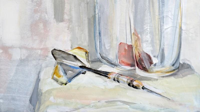 Still life with dart arrow | Kunstuitleen Alkmaar | Acrylic on wooden panel | detail