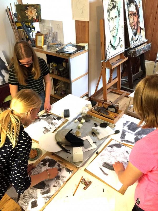 Familie /Tekenles voor scholieren! Vrienden teken workshop / Groepsuitje