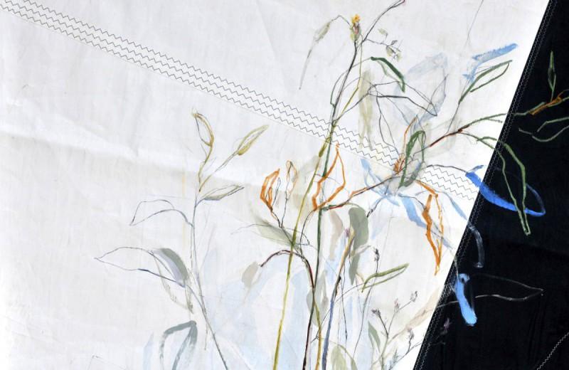 Rondje Kunst Statenkwartier Den Haag 2018 Flowers painted on sail cloth