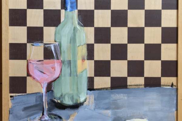 Wine & Art & Chess game | acrylic on chess board | 390€