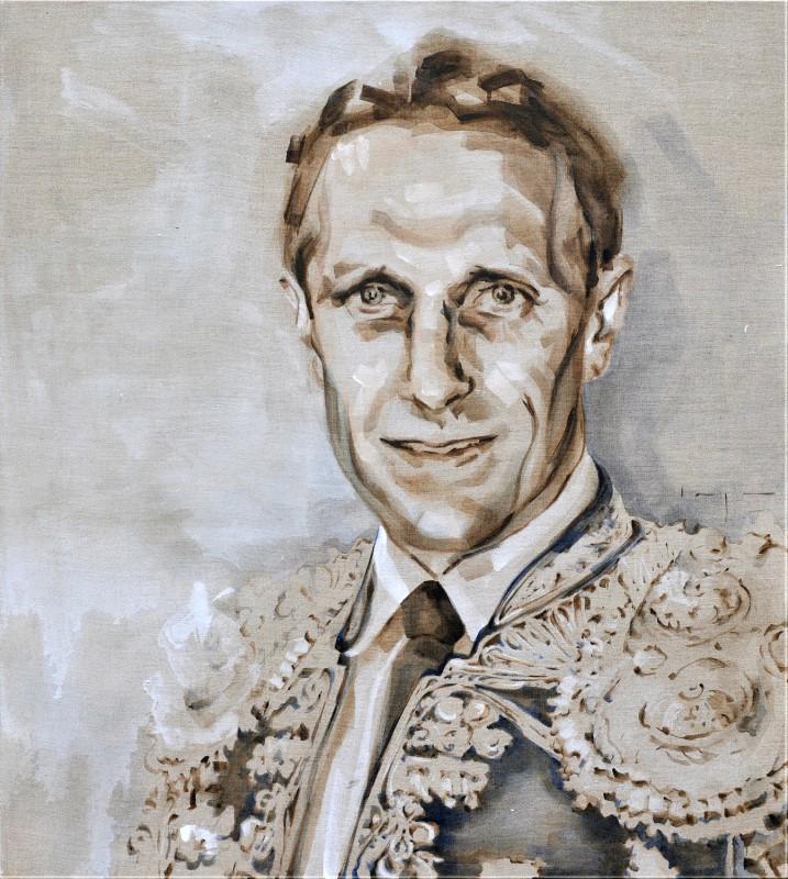 Barry van Galen   AZ Alkmaar Football player as torero   acrylic on canvas