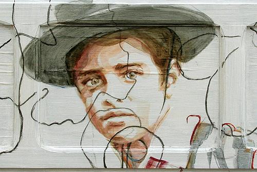 Spanish boy   acrylic on wooden shutter