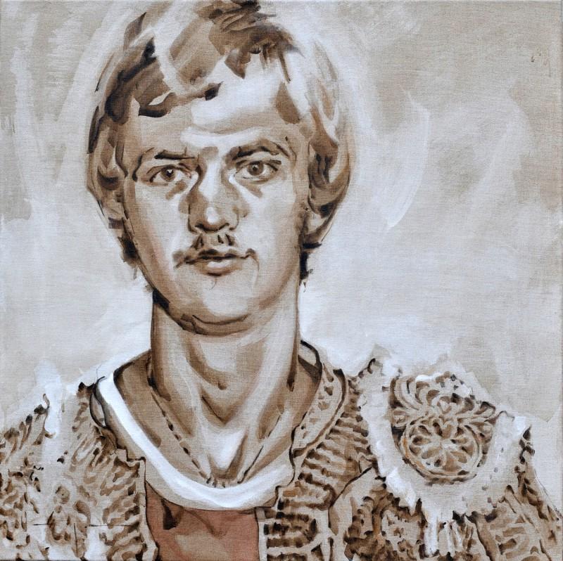 Louis van Gaal   AZ football player as torero   acrylic on canvas linnen   70x80cm