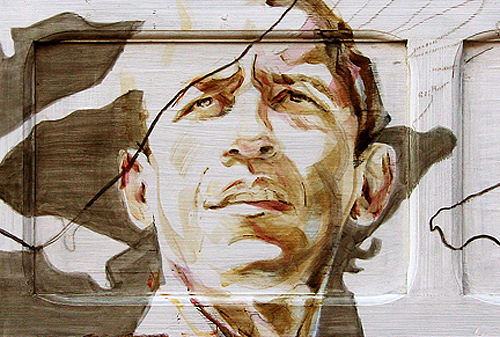 Obama (as Spanish torero) | acrylic on wooden shutter