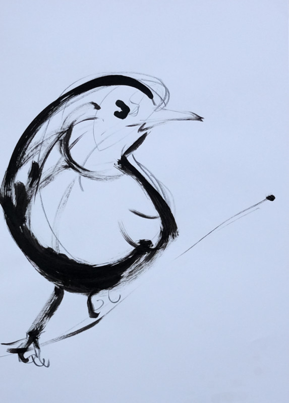 Sketch / study painting for Wallpaper Birds | acrylic on A3 paper - 04
