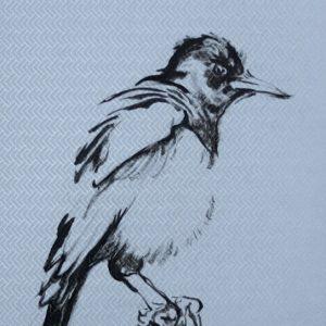 Wallpaper Birds - painting acrylic on wallpaper - 08