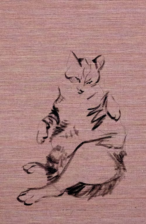 Koetzier van Hooff | Wallpaper Series | Cat on Taupe | Artwork