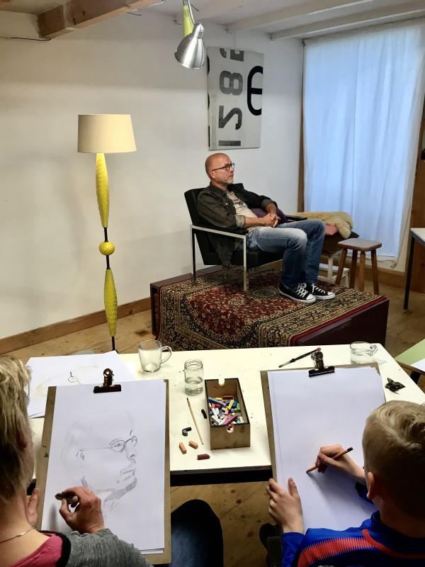Modeltekenen Portrettekenen Schoorl Alkmaar, Model Willem Schotten | 2019
