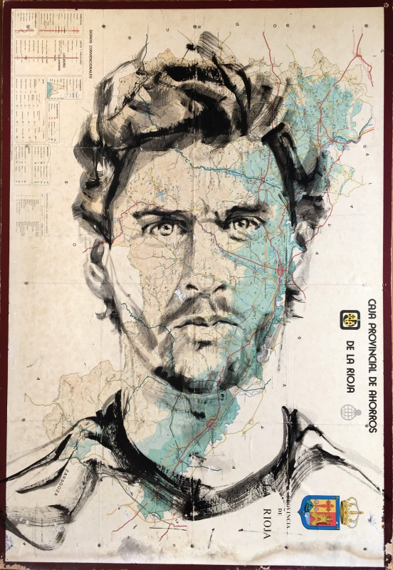 Fernando LLorente | Portrait Painting on Map of Rioja Spain | 80x100 cm