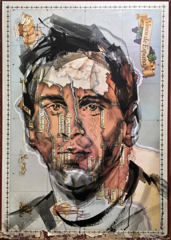 Lionel Messi | Portrait Painting on Map of Spain | 80x100 cm