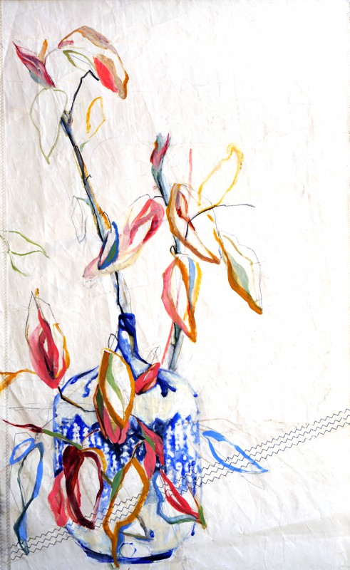 Branche in Blue Vase Nicole Donkers | steel top&bottom ready to hang | 90x120 cm