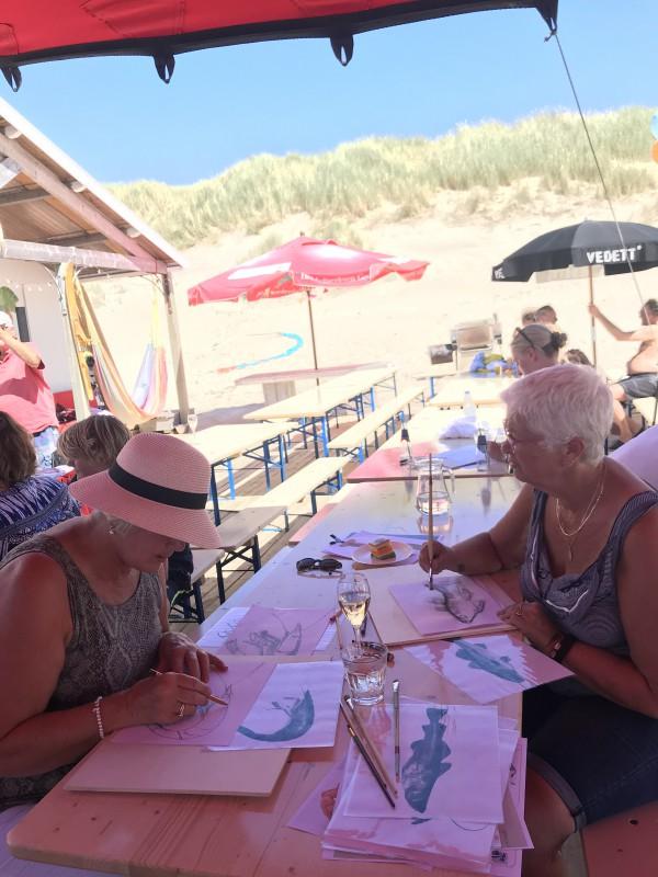 Workshop Drawing Fish on Sail. Vis tekenen op zeil, Botenclub Bergen 40 jaar.